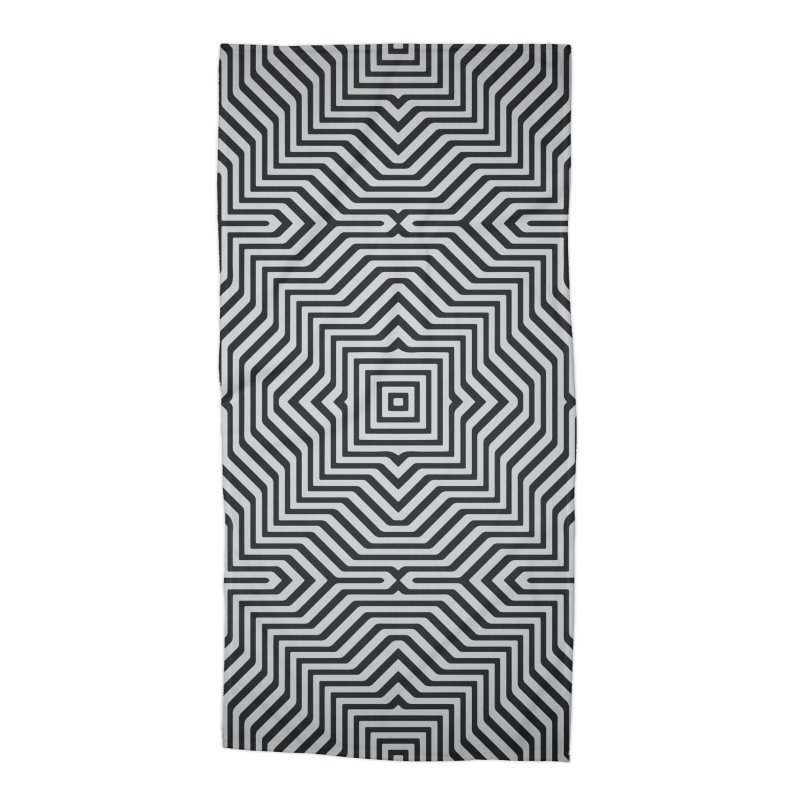 Minimal Geometrical Optical Illusion Style Pattern in Black & White T-Shirt Accessories Beach Towel by Badbugs's Artist Shop
