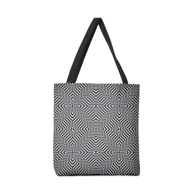 Minimal Geometrical Optical Illusion Style Pattern in Black & White T-Shirt Accessories Bag by Badbugs's Artist Shop