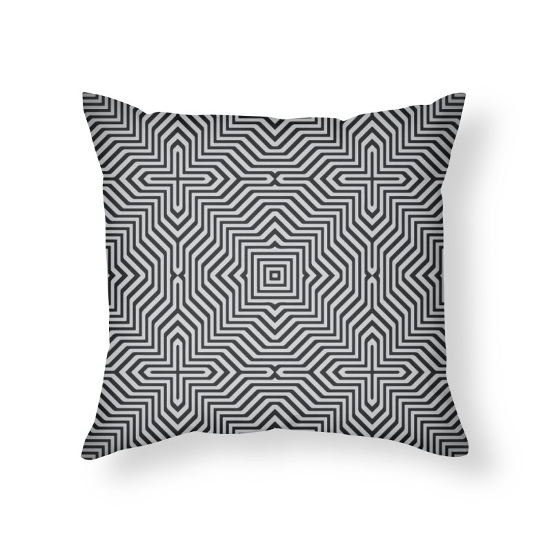 Minimal Geometrical Optical Illusion Style Pattern in Black & White T-Shirt Home Throw Pillow by Badbugs's Artist Shop