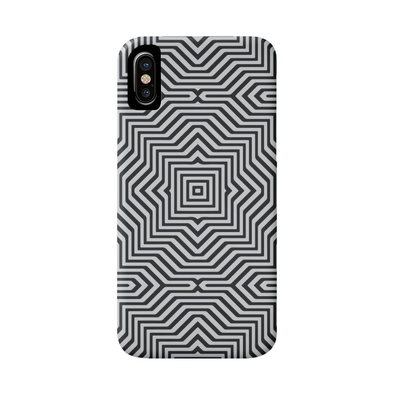 Minimal Geometrical Optical Illusion Style Pattern in Black & White T-Shirt Accessories Phone Case by Badbugs's Artist Shop