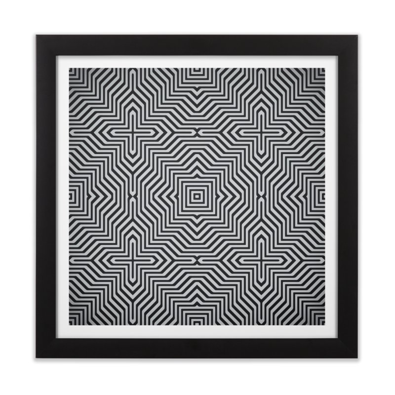Minimal Geometrical Optical Illusion Style Pattern in Black & White T-Shirt Home Framed Fine Art Print by Badbugs's Artist Shop