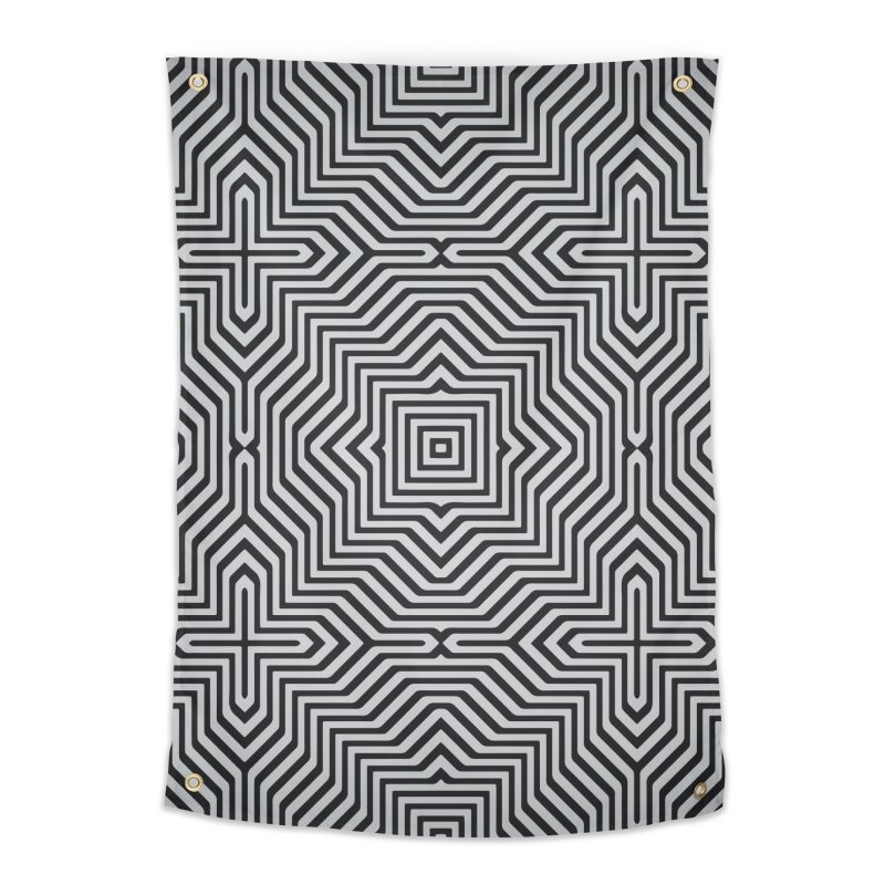 Minimal Geometrical Optical Illusion Style Pattern in Black & White T-Shirt Home Tapestry by Badbugs's Artist Shop