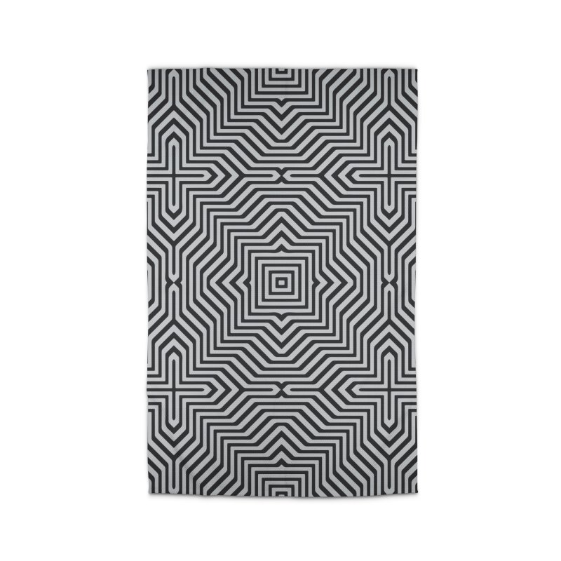 Minimal Geometrical Optical Illusion Style Pattern in Black & White T-Shirt Home Rug by Badbugs's Artist Shop