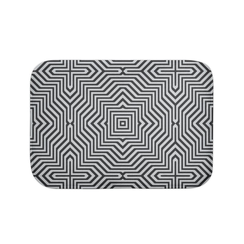 Minimal Geometrical Optical Illusion Style Pattern in Black & White T-Shirt Home Bath Mat by Badbugs's Artist Shop
