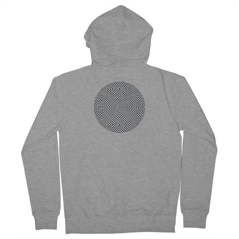 Minimal Geometrical Optical Illusion Style Pattern in Black & White T-Shirt Men's Zip-Up Hoody by Badbugs's Artist Shop