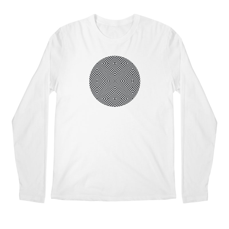 Minimal Geometrical Optical Illusion Style Pattern in Black & White T-Shirt Men's Longsleeve T-Shirt by Badbugs's Artist Shop