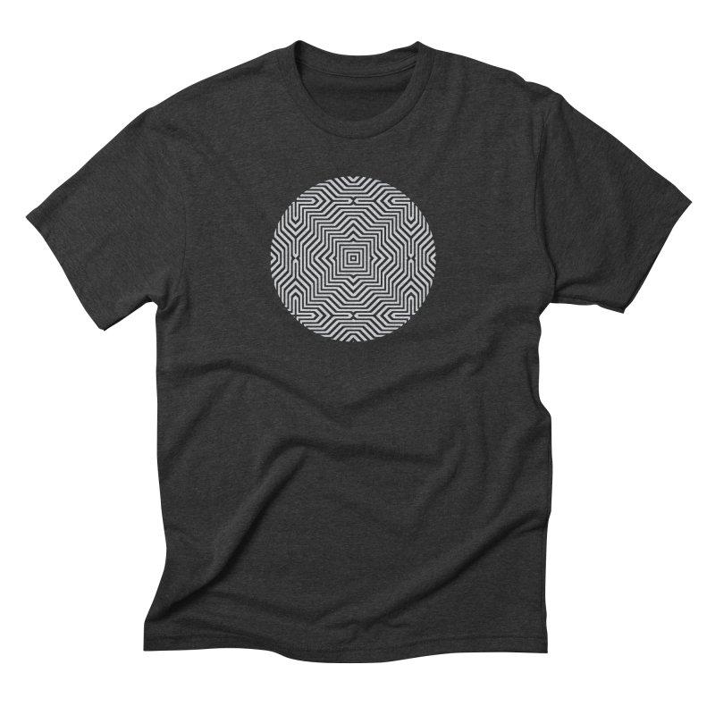 Minimal Geometrical Optical Illusion Style Pattern in Black & White T-Shirt Men's Triblend T-Shirt by Badbugs's Artist Shop