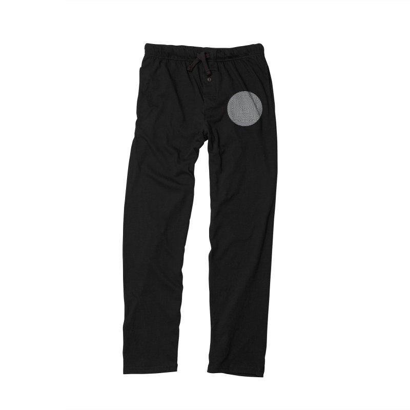 Minimal Geometrical Optical Illusion Style Pattern in Black & White T-Shirt Women's Lounge Pants by Badbugs's Artist Shop