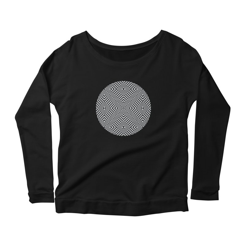 Minimal Geometrical Optical Illusion Style Pattern in Black & White T-Shirt Women's Longsleeve Scoopneck  by Badbugs's Artist Shop