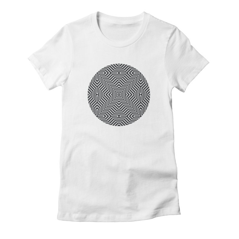 Minimal Geometrical Optical Illusion Style Pattern in Black & White T-Shirt Women's Fitted T-Shirt by Badbugs's Artist Shop