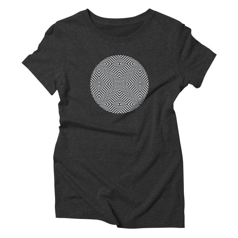 Minimal Geometrical Optical Illusion Style Pattern in Black & White T-Shirt Women's  by Badbugs's Artist Shop