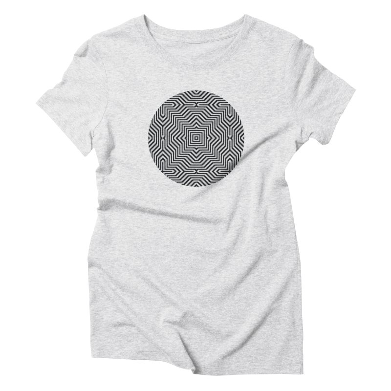 Minimal Geometrical Optical Illusion Style Pattern in Black & White T-Shirt Women's Triblend T-Shirt by Badbugs's Artist Shop