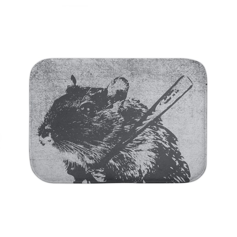 Angry Street Art Mouse Home Bath Mat by Badbugs's Artist Shop