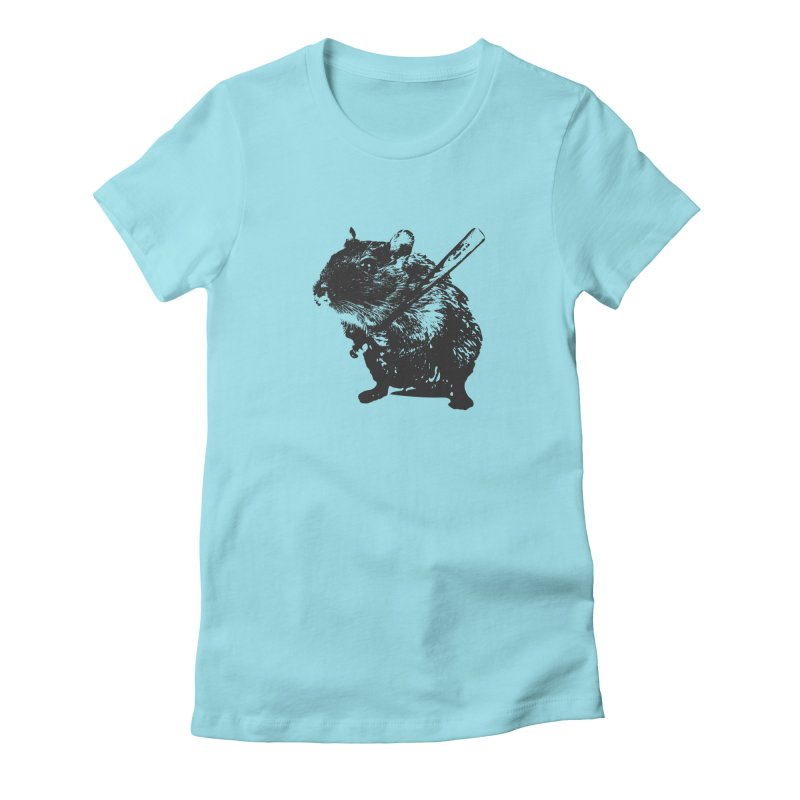 Angry Street Art Mouse Women's Fitted T-Shirt by Badbugs's Artist Shop