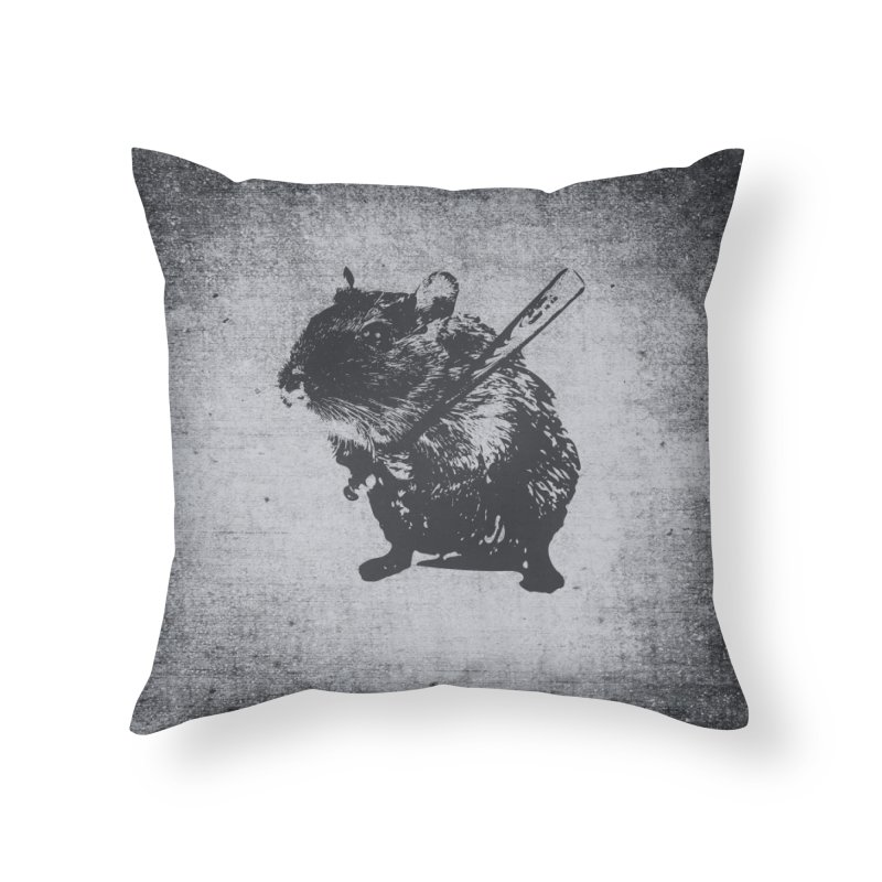Angry Street Art Mouse Home Throw Pillow by Badbugs's Artist Shop