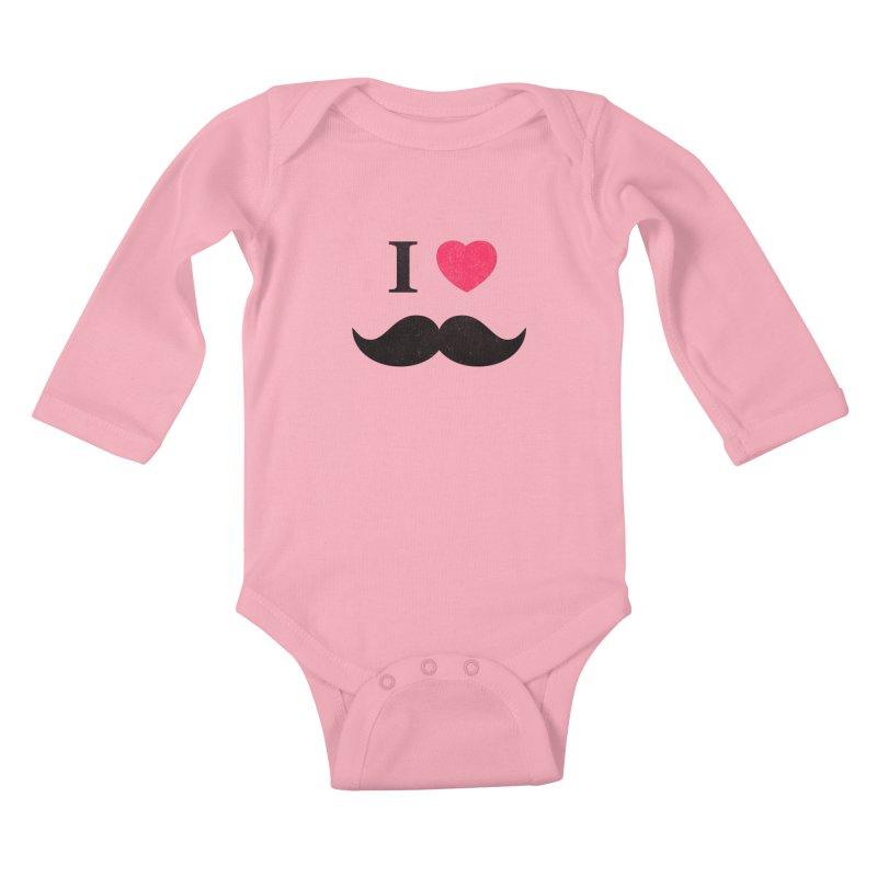 I love mustache! Kids Baby Longsleeve Bodysuit by Badbugs's Artist Shop