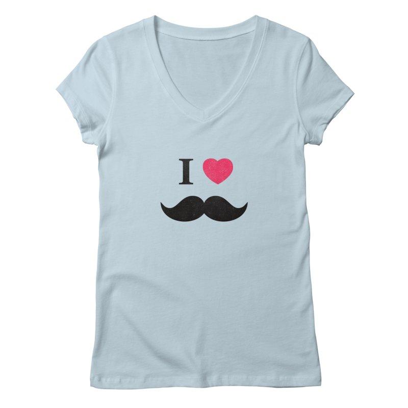 I love mustache! Women's V-Neck by Badbugs's Artist Shop