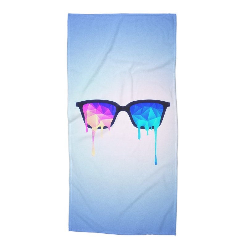 Psychedelic Nerd Glasses Accessories Beach Towel by Badbugs's Artist Shop