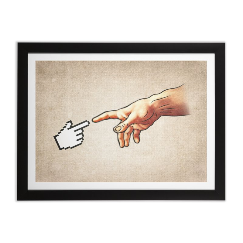 Creation of Adam Parody Home Framed Fine Art Print by Badbugs's Artist Shop