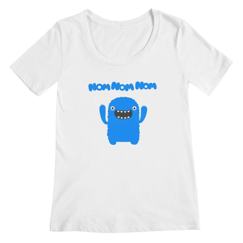 Om nom nom nom Women's Scoopneck by Badbugs's Artist Shop