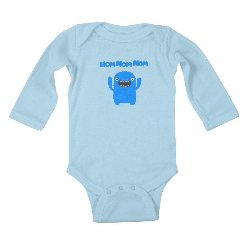 Om nom nom nom Kids Baby Longsleeve Bodysuit by Badbugs's Artist Shop
