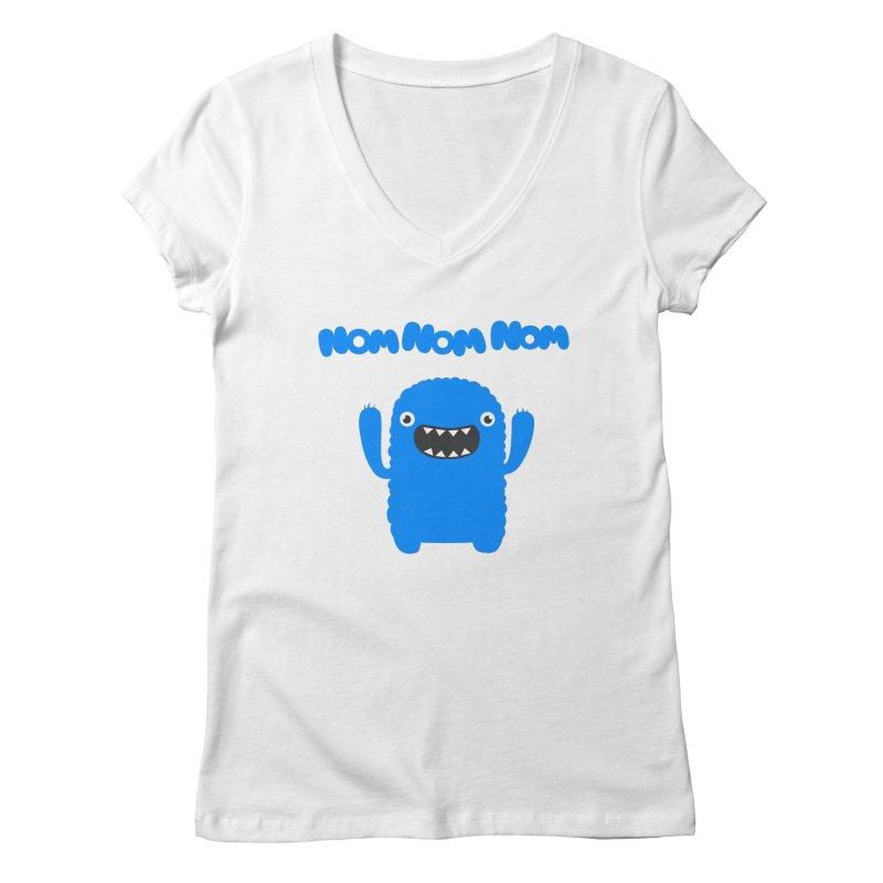 Om nom nom nom Women's V-Neck by Badbugs's Artist Shop