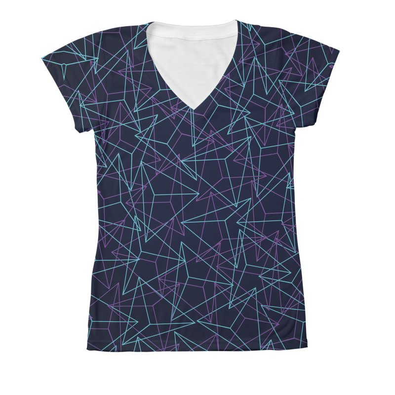 Abstract Geometric 3D Triangle Pattern in turquoise/ purple Women's  by Badbugs's Artist Shop