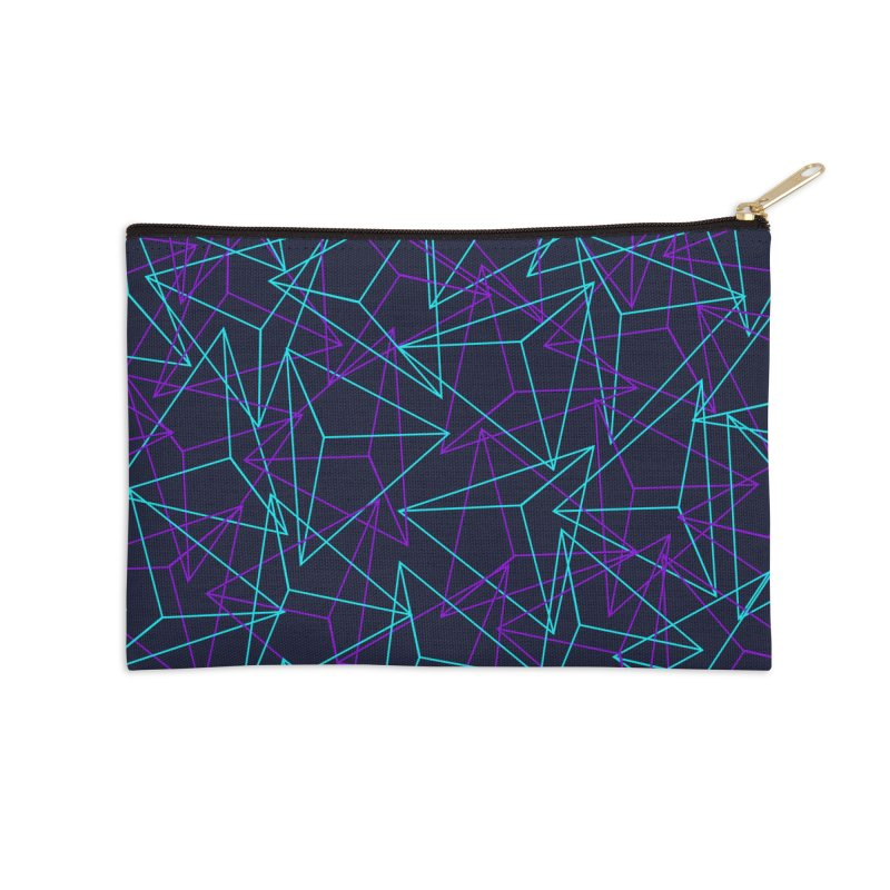 Abstract Geometric 3D Triangle Pattern in turquoise/ purple Accessories Zip Pouch by Badbugs's Artist Shop
