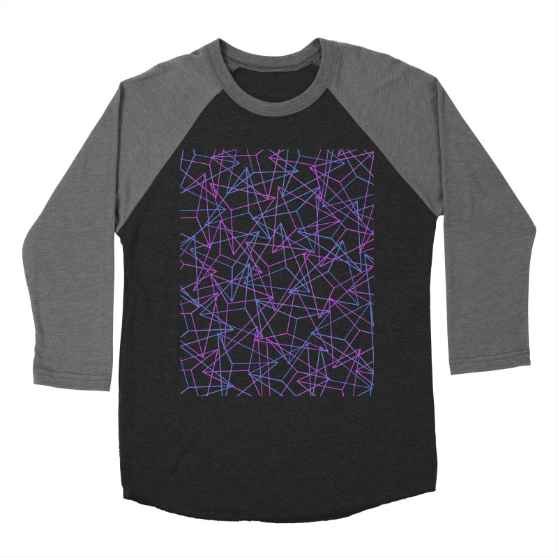 Abstract Geometric 3D Triangle Pattern in turquoise/ purple Men's Baseball Triblend T-Shirt by Badbugs's Artist Shop