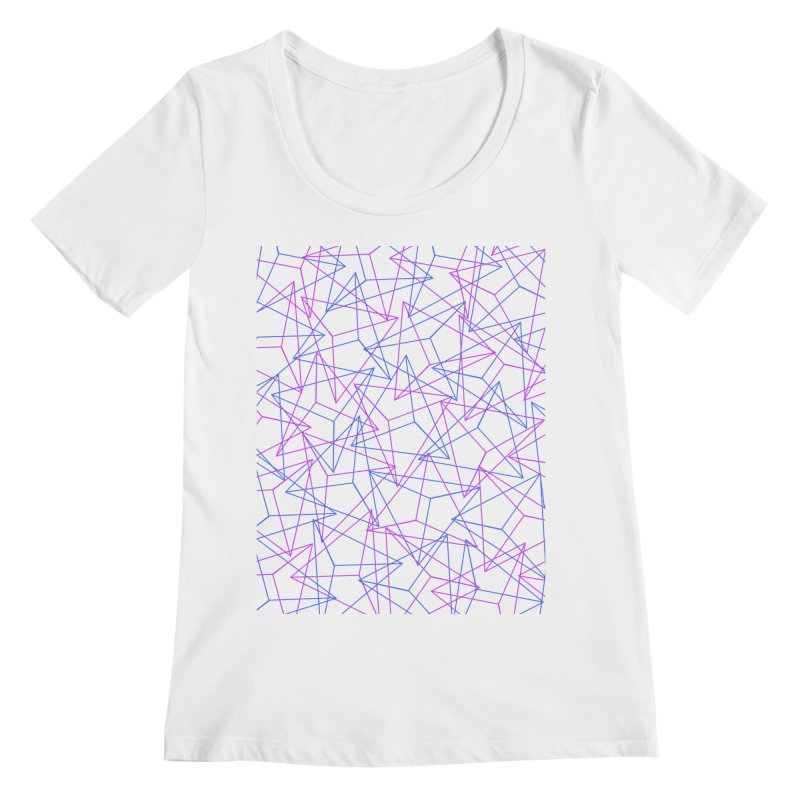 Abstract Geometric 3D Triangle Pattern in turquoise/ purple Women's Scoopneck by Badbugs's Artist Shop