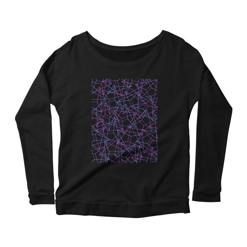 Abstract Geometric 3D Triangle Pattern in turquoise/ purple Women's Longsleeve Scoopneck  by Badbugs's Artist Shop