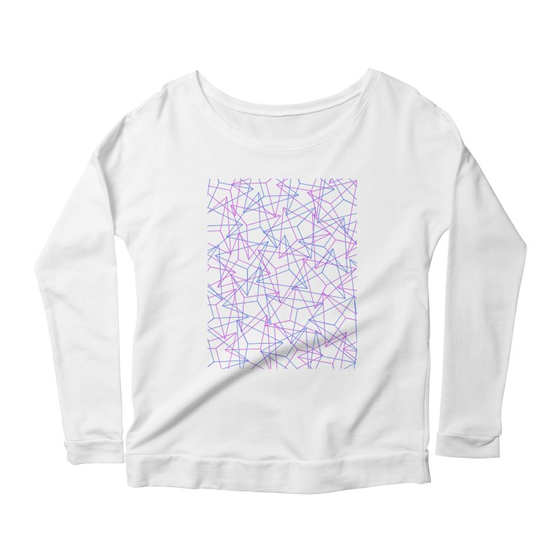 Abstract Geometric 3D Triangle Pattern in turquoise/ purple Women's Longsleeve Scoopneck  by Badbugs's Artist Shop