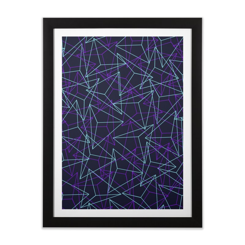Abstract Geometric 3D Triangle Pattern in turquoise/ purple Home Framed Fine Art Print by Badbugs's Artist Shop