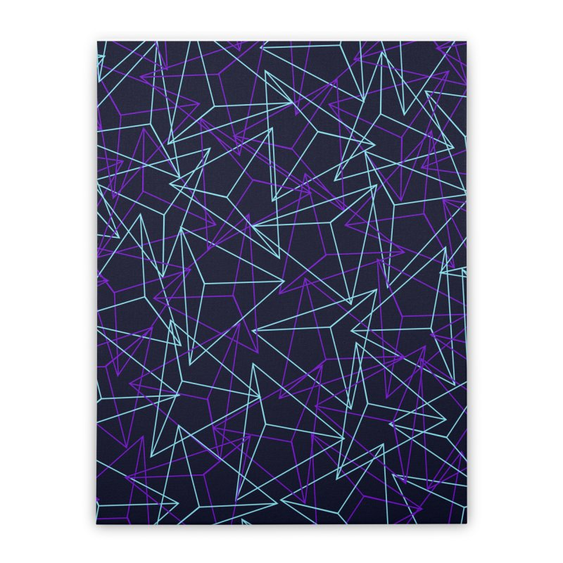 Abstract Geometric 3D Triangle Pattern in turquoise/ purple Home Stretched Canvas by Badbugs's Artist Shop