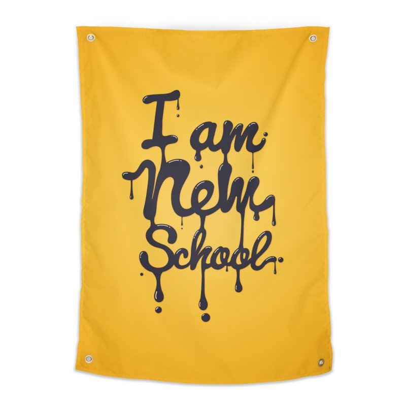 I am new school! Oil Typography Home Tapestry by Badbugs's Artist Shop
