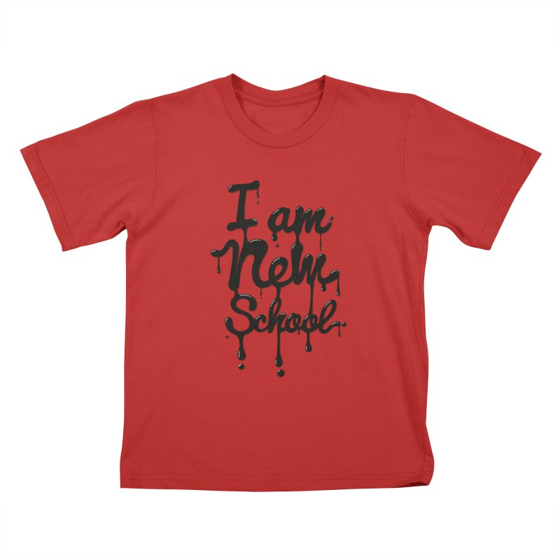 I am new school! Oil Typography Kids T-Shirt by Badbugs's Artist Shop