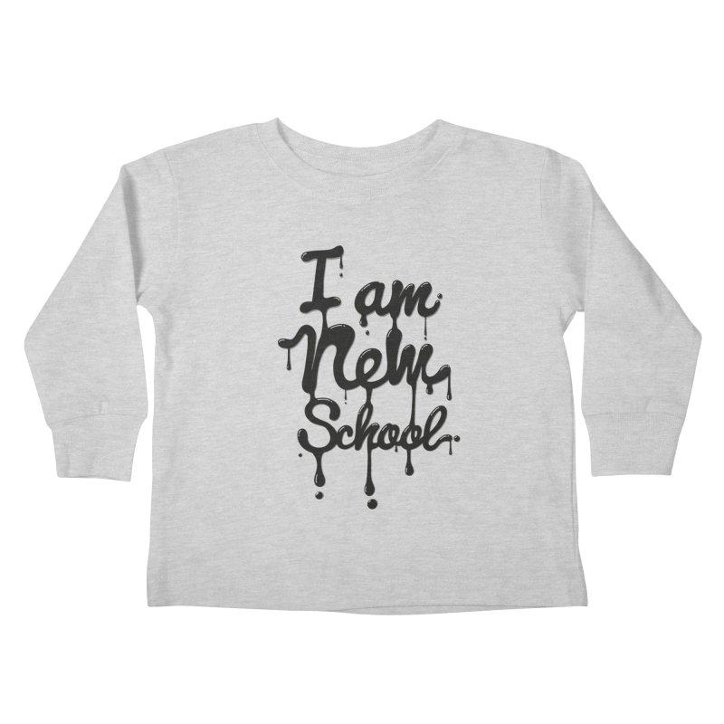 I am new school! Oil Typography Kids Toddler Longsleeve T-Shirt by Badbugs's Artist Shop
