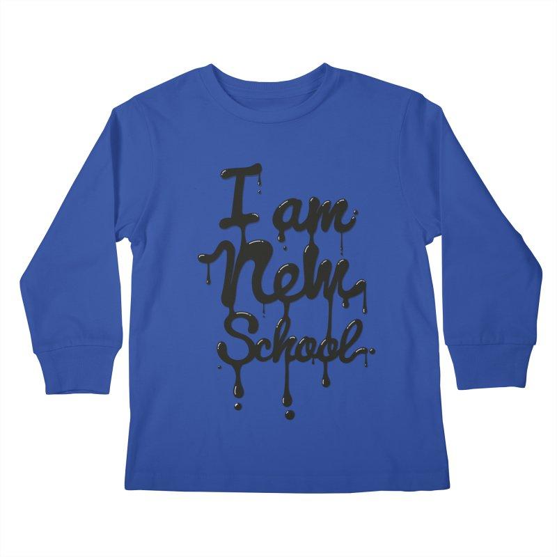 I am new school! Oil Typography Kids Longsleeve T-Shirt by Badbugs's Artist Shop
