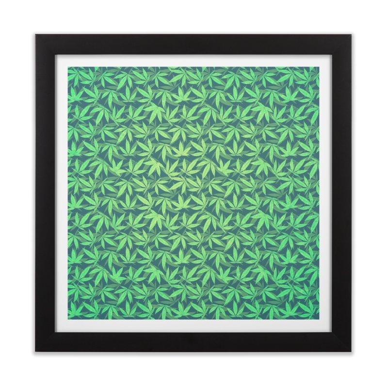 Cannabis / Hemp / 420 / Marijuana  - Pattern Home Framed Fine Art Print by Badbugs's Artist Shop