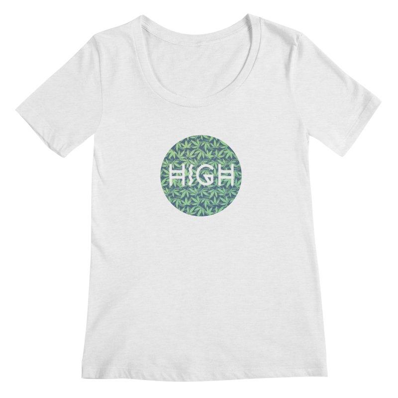 Cannabis / Hemp / 420 / Marijuana  - Pattern Women's Scoopneck by Badbugs's Artist Shop