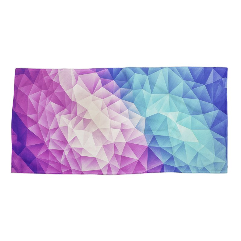 Color Bomb Fruity Fresh | Pink - Ice Blue / Abstract Polygon Crystal Cubism Low Poly Triangle Art Accessories Beach Towel by Badbugs's Artist Shop
