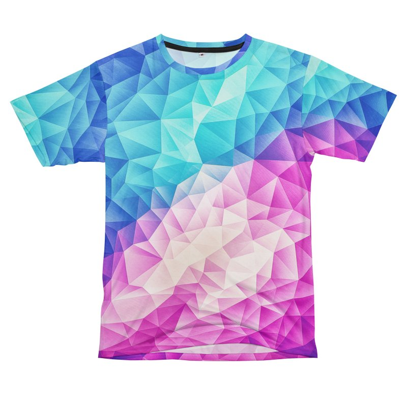 Color Bomb Fruity Fresh | Pink - Ice Blue / Abstract Polygon Crystal Cubism Low Poly Triangle Art Women's Cut & Sew by Badbugs's Artist Shop
