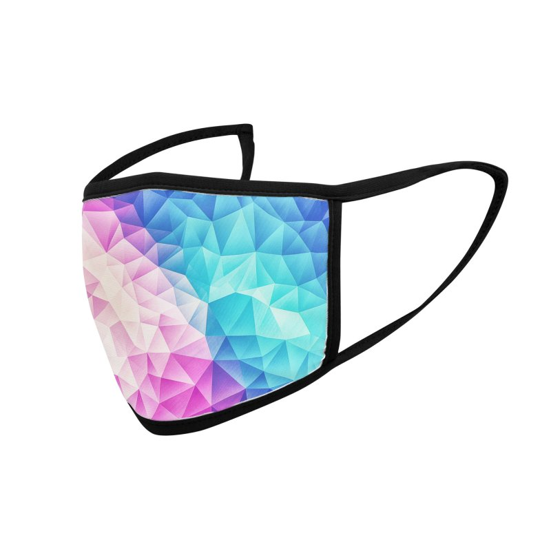 Color Bomb Fruity Fresh   Pink - Ice Blue / Abstract Polygon Crystal Cubism Low Poly Triangle Art Accessories Face Mask by Badbugs's Artist Shop