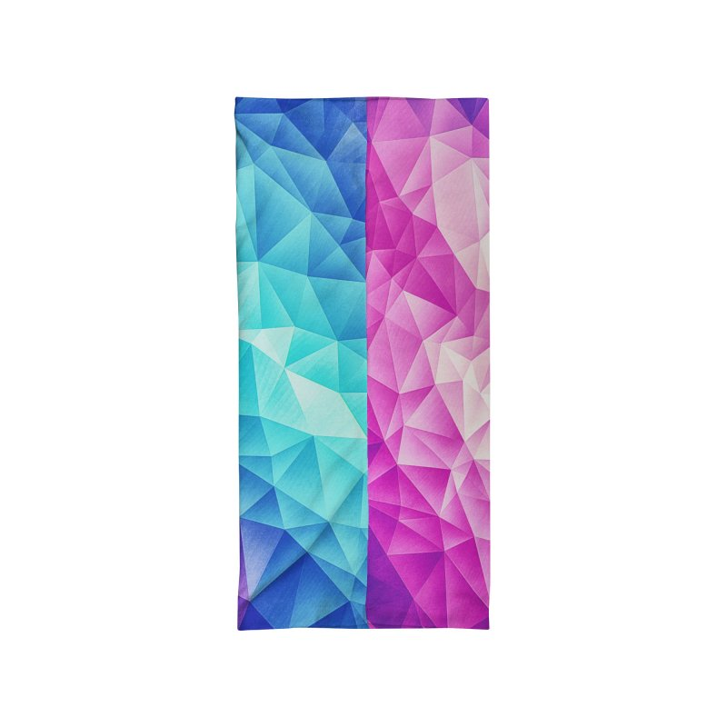 Color Bomb Fruity Fresh | Pink - Ice Blue / Abstract Polygon Crystal Cubism Low Poly Triangle Art Accessories Neck Gaiter by Badbugs's Artist Shop