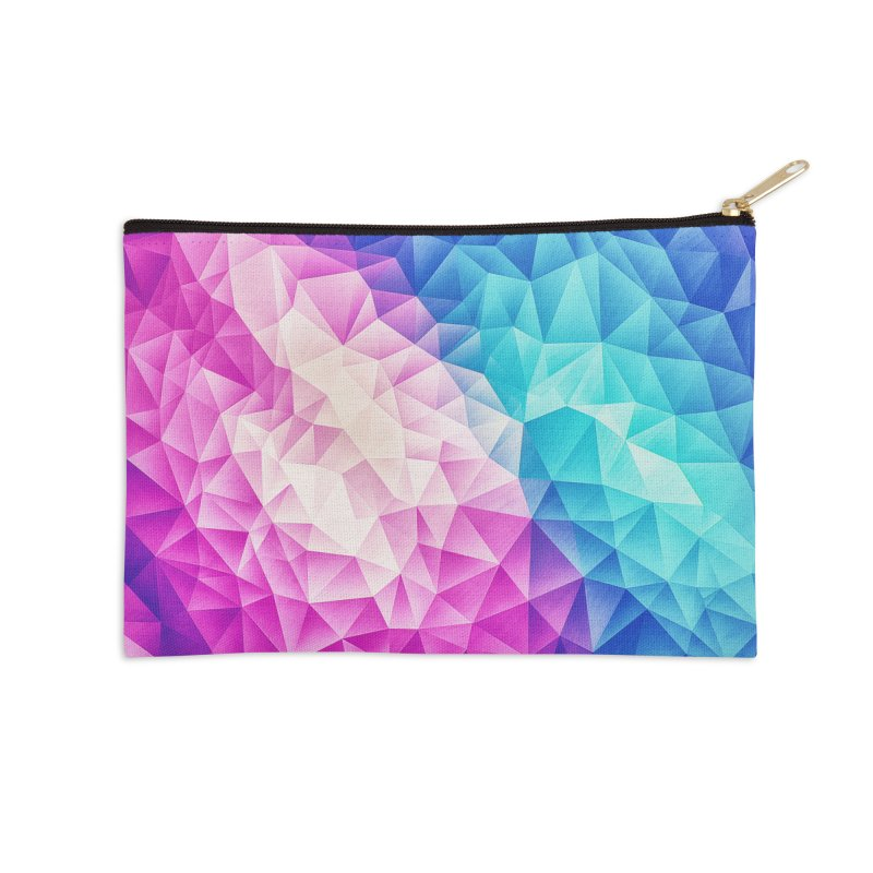 Color Bomb Fruity Fresh | Pink - Ice Blue / Abstract Polygon Crystal Cubism Low Poly Triangle Art Accessories Zip Pouch by Badbugs's Artist Shop