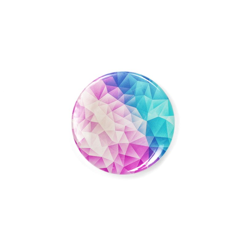 Color Bomb Fruity Fresh | Pink - Ice Blue / Abstract Polygon Crystal Cubism Low Poly Triangle Art Accessories Button by Badbugs's Artist Shop