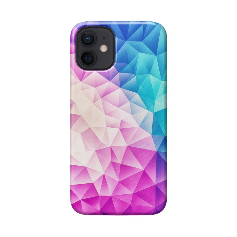 Color Bomb Fruity Fresh   Pink - Ice Blue / Abstract Polygon Crystal Cubism Low Poly Triangle Art Accessories Phone Case by Badbugs's Artist Shop