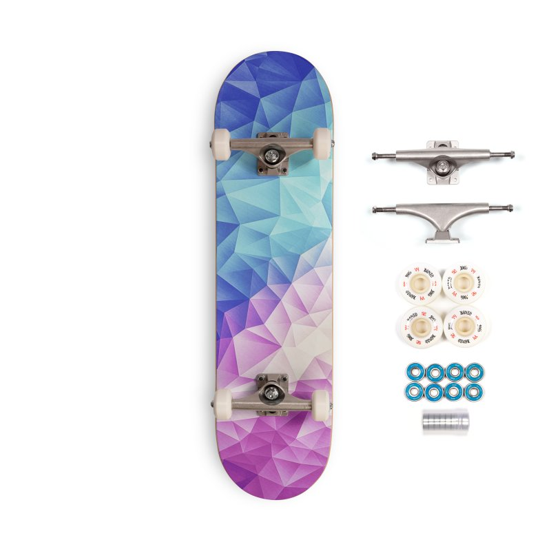 Color Bomb Fruity Fresh | Pink - Ice Blue / Abstract Polygon Crystal Cubism Low Poly Triangle Art Accessories Skateboard by Badbugs's Artist Shop