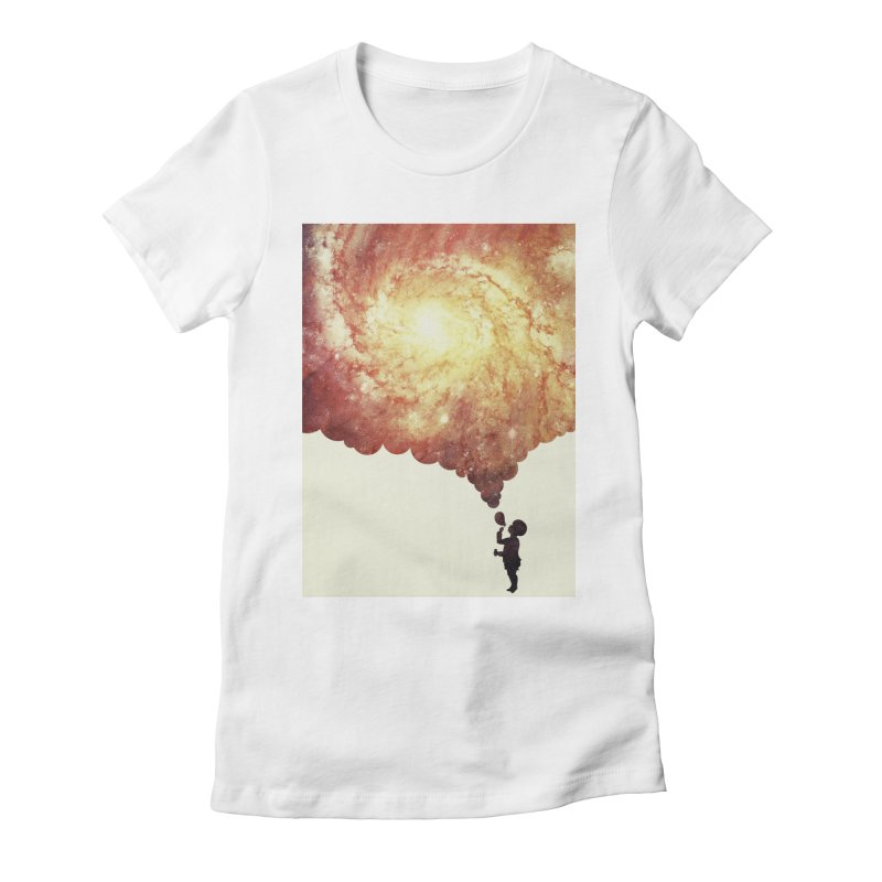 The universe in a soap-bubble! (Awesome Space / Nebula / Galaxy Negative Space Artwork) Women's Fitted T-Shirt by Badbugs's Artist Shop
