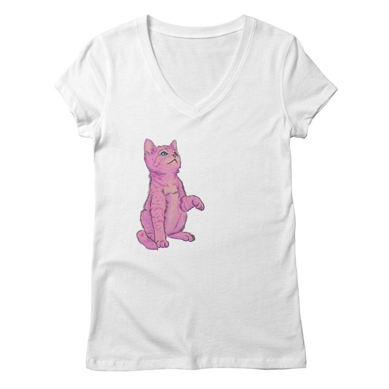 baby meow Women's Regular V-Neck by badgirlsadgirl's Artist Shop